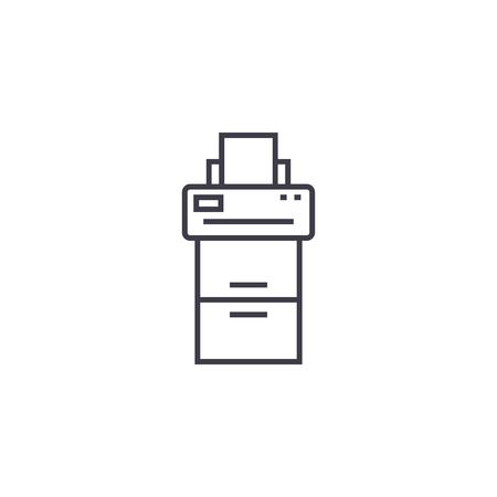 copy machine vector line icon, sign, illustration on white background, editable strokes