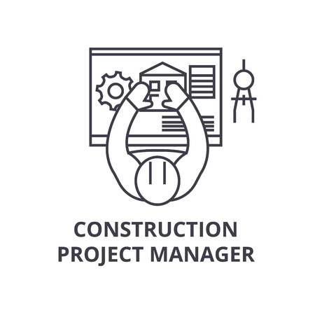 construction project manager vector line icon, sign, illustration on white background, editable strokes  イラスト・ベクター素材