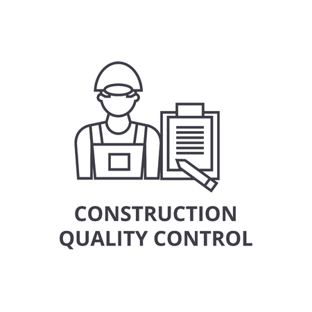 construction quality control vector line icon, sign, illustration on white background, editable strokes 向量圖像