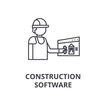 construction software vector line icon, sign, illustration on white background, editable strokes