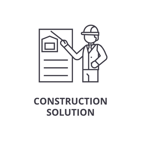 construction solution vector line icon, sign, illustration on white background, editable strokes  イラスト・ベクター素材