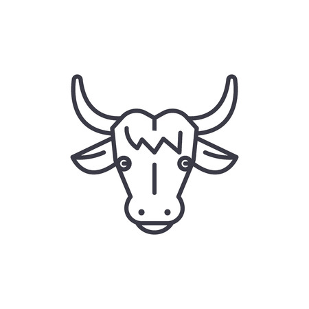 cow head vector line icon, sign, illustration on white background, editable strokes