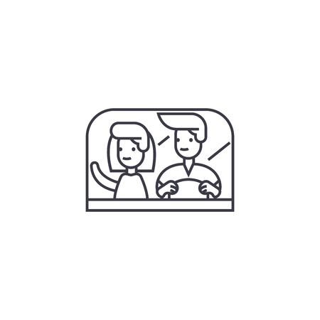 couple driving away vector line icon, sign, illustration on white background, editable strokes Illustration