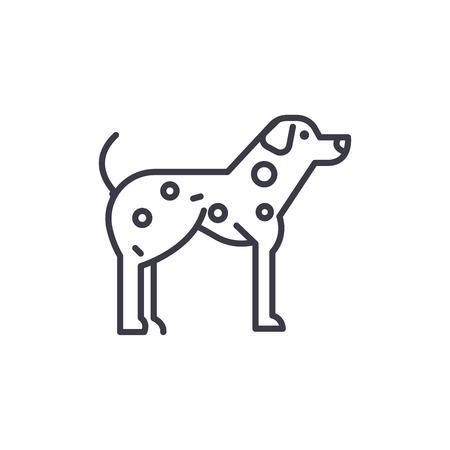 dalmatian  vector line icon, sign, illustration on white background, editable strokes