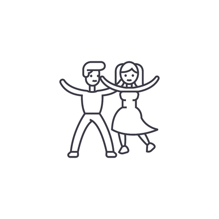 dancing couple vector line icon, sign, illustration on white background, editable strokes Illustration