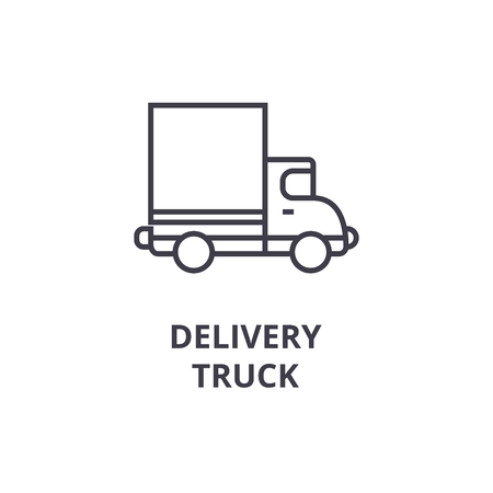 delivery truck vector line icon, sign, illustration on white background, editable strokes