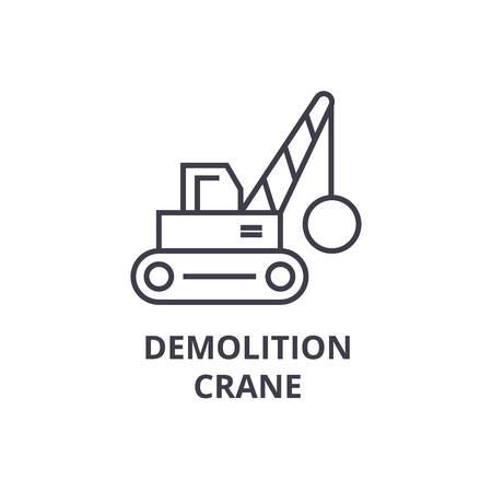 demolition crane vector line icon, sign, illustration on white background, editable strokes