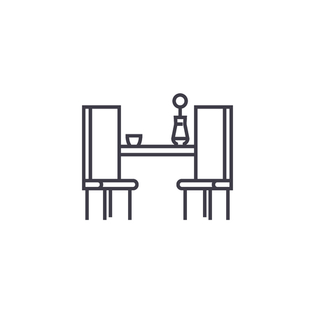 dining table with two chairs vector line icon, sign, illustration on white background, editable strokes
