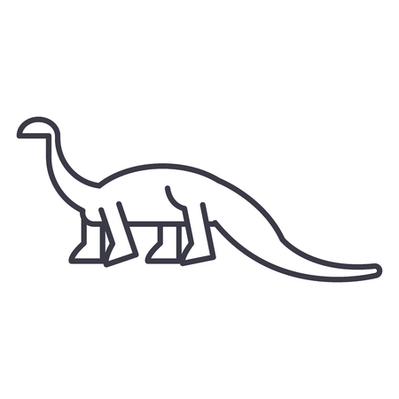 diplodocus vector line icon, sign, illustration on white background, editable strokes