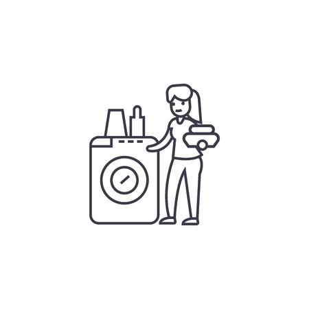 dish washing machine vector line icon, sign, illustration on white background, editable strokes