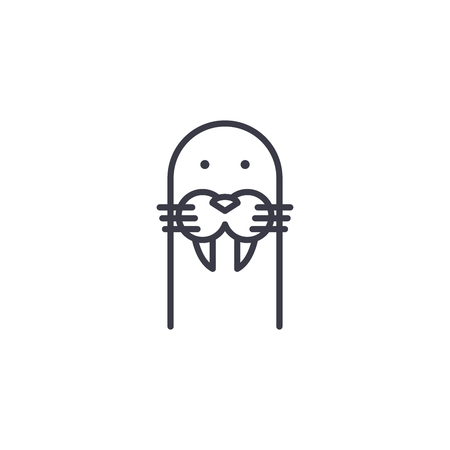 cute seal head vector line icon, sign, illustration on white background, editable strokes