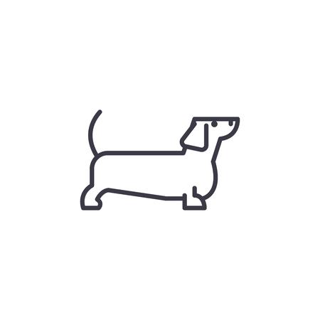 dachshund vector line icon, sign, illustration on white background, editable strokes