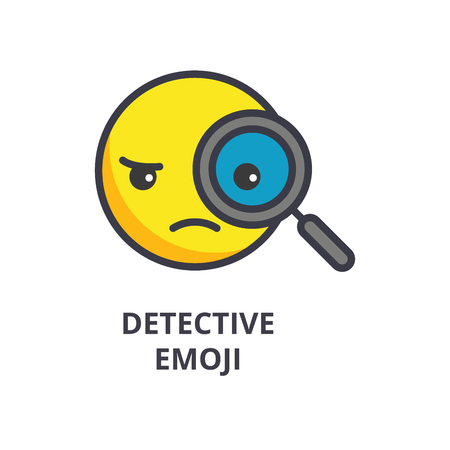 detective emoji vector line icon, sign, illustration on white background, editable strokes Illustration