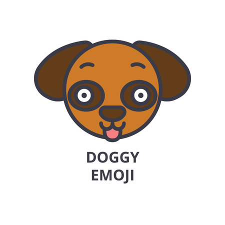 doggy emoji vector line icon, sign, illustration on white background, editable strokes