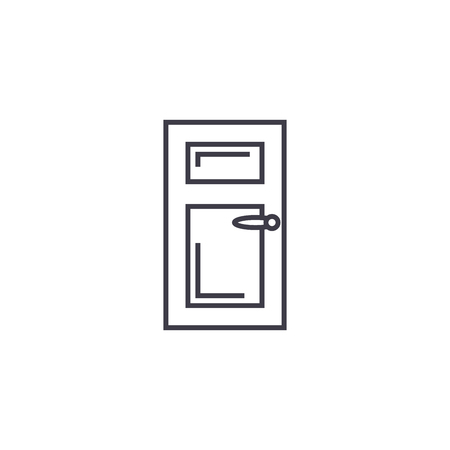 door vector line icon, sign, illustration on white background, editable strokes