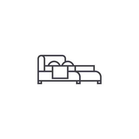 double bed vector line icon, sign, illustration on white background, editable strokes