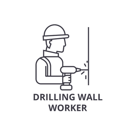 drilling wall worker vector line icon, sign, illustration on white background, editable strokes Illustration