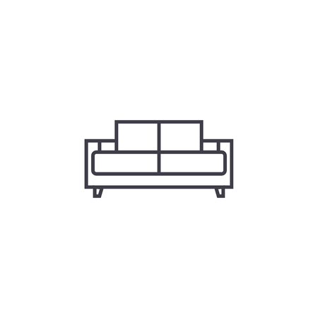 dual recliner vector line icon, sign, illustration on white background, editable strokes