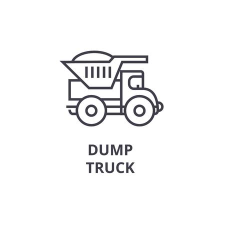 dump truck vector line icon, sign, illustration on white background, editable strokes