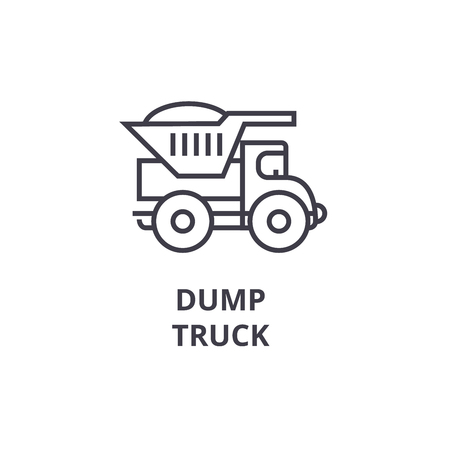 dump truck vector line icon, sign, illustration on white background, editable strokes