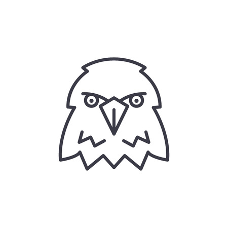 eagle head vector line icon, sign, illustration on white background, editable strokes