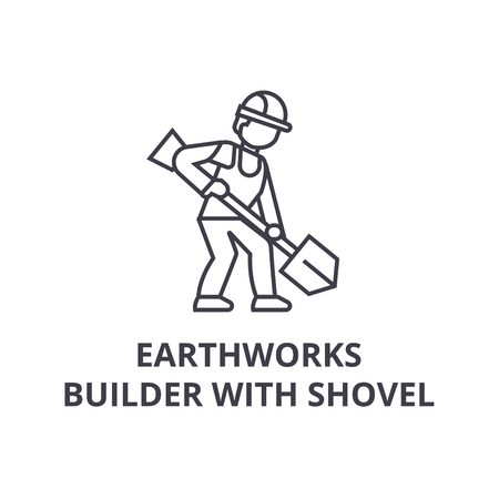 earthworks, builder with showel vector line icon, sign, illustration on white background, editable strokes