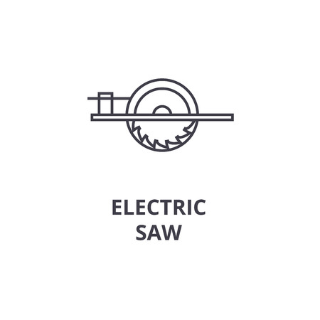 electric saw vector line icon, sign, illustration on white background, editable strokes