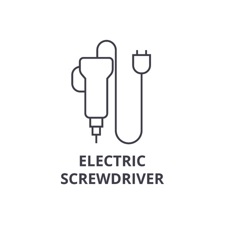 electric screwdriver vector line icon, sign, illustration on white background, editable strokes