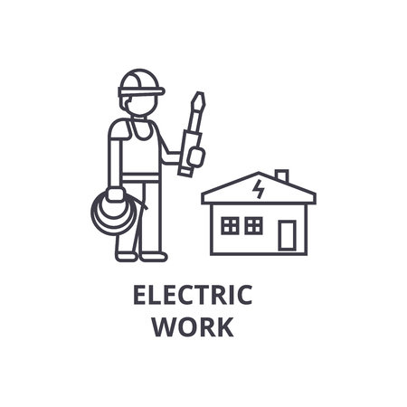 electric work vector line icon, sign, illustration on white background, editable strokes Foto de archivo - 100807186