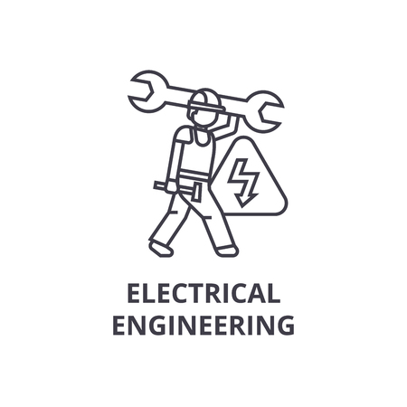 electrical engineering vector line icon, sign, illustration on white background, editable strokes Illustration
