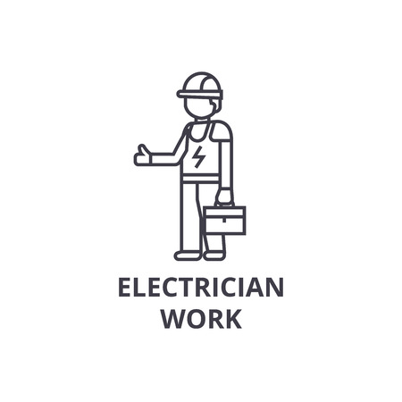electrician work vector line icon, sign, illustration on white background, editable strokes Иллюстрация