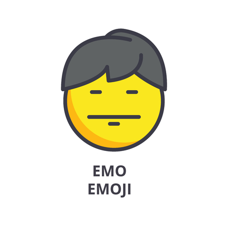 emo emoji vector line icon, sign, illustration on white background, editable strokes