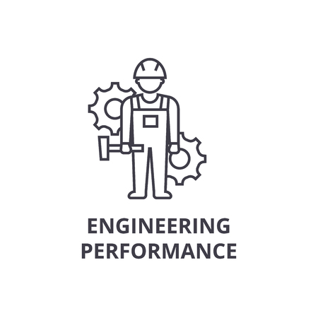 engineering performance vector line icon, sign, illustration on white background, editable strokes