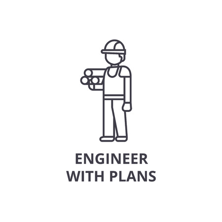 engineer with plans vector line icon, sign, illustration on white background, editable strokes Çizim