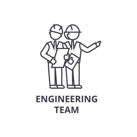 engineering team vector line icon, sign, illustration on white background, editable strokes  イラスト・ベクター素材