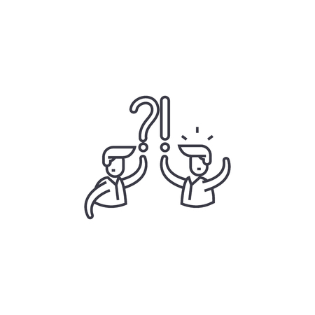 faq vector line icon, sign, illustration on white background, editable strokes