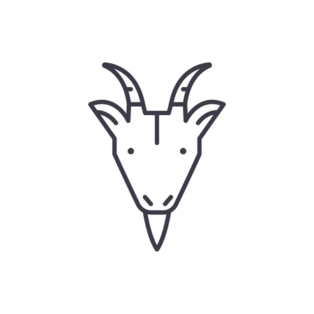 farm goat head vector line icon, sign, illustration on white background, editable strokes