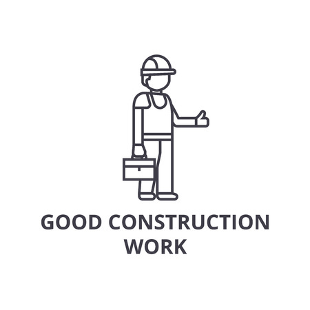 good construction work vector line icon, sign, illustration on white background, editable strokes