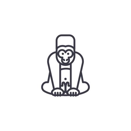 gorilla vector line icon, sign, illustration on white background, editable strokes
