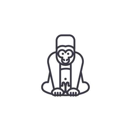 gorilla vector line icon, sign, illustration on white background, editable strokes