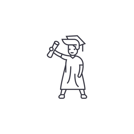 graduate student vector line icon, sign, illustration on white background, editable strokes