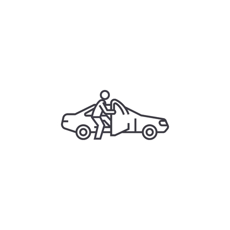 getting in the car vector line icon, sign, illustration on white background, editable strokes Illusztráció