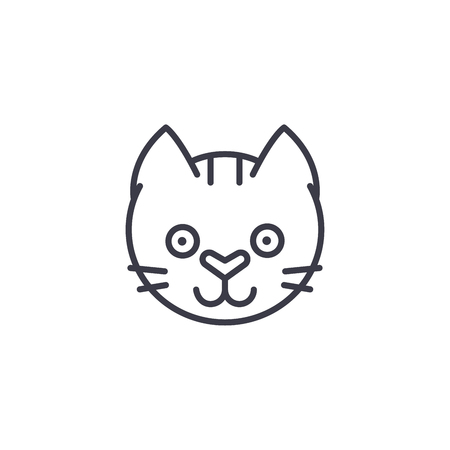 funny cat head vector line icon, sign, illustration on white background, editable strokes