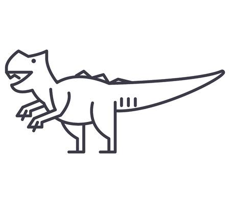 giganotosaurus vector line icon, sign, illustration on white background, editable strokes Ilustração