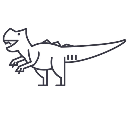 giganotosaurus vector line icon, sign, illustration on white background, editable strokes Illustration