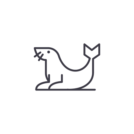 fur seal vector line icon, sign, illustration on white background, editable strokes  イラスト・ベクター素材