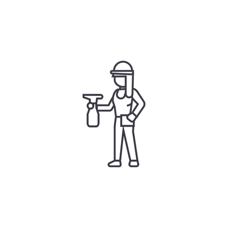 girl with a sprayer vector line icon, sign, illustration on white background, editable strokes
