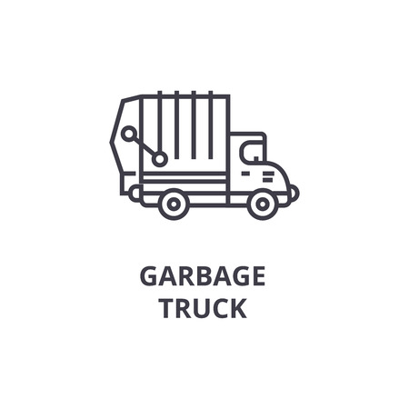 garbage truck vector line icon, sign, illustration on white background, editable strokes