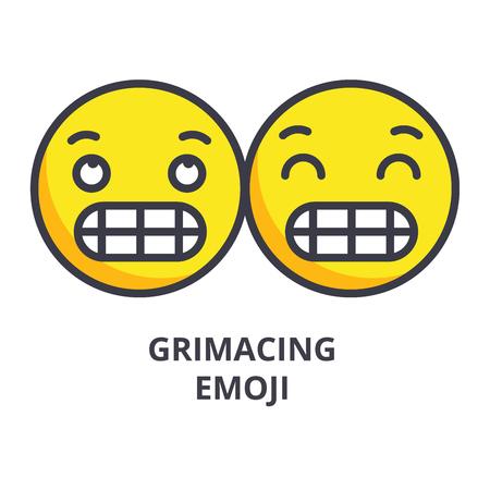 grimacing emoji vector line icon, sign, illustration on white background, editable strokes