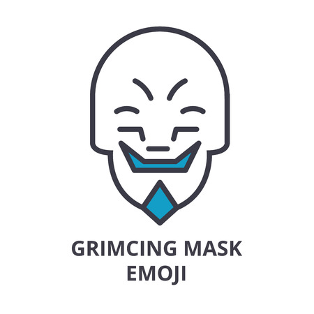 grimacing mask emoji vector line icon, sign, illustration on white background, editable strokes Banque d'images - 100817062